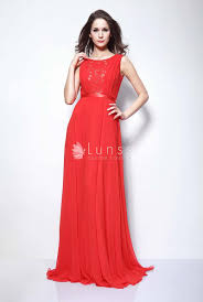 jewel neck red lace and chiffon sleeveless ximena cannes elegant