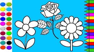 how to draw flowers coloring pages kids learn drawing art