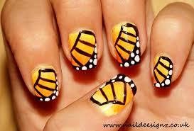 naildeesignz monarch butterfly nail art