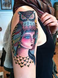 tattoo girl owl owl girl tattoo traditional tattoos minneapolis mn