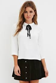forever 21 white blouse lyst forever 21 self tie collared blouse in white