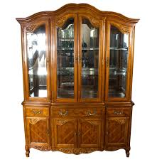 french provincial style oak china cabinet ebth