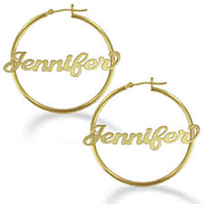 personalized earrings yellow gold personalized name polished hoop earrings