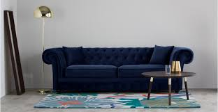 Sofas Chesterfield Branagh 3 Seater Chesterfield Sofa Electric Blue Velvet Made
