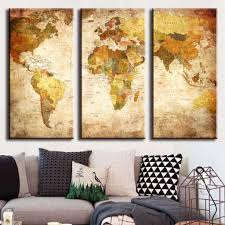 amazon com frameless canvas prints map art nleader retro style