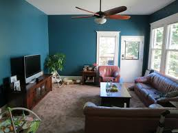 Turquoise Leather Sectional Sofa Living Room Small Space With Turquoise Wall Apinted And Brown Faux