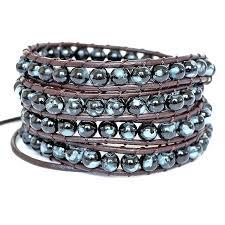 beaded bracelet leather images Leather bead wrap bracelet by shamelessly sparkly jpg