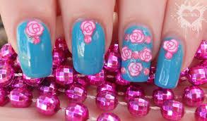 prettyfulz pretty pink u0026 teal flower nail art design