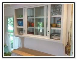 Kitchen With Glass Cabinet Doors Sliding Cabinet Doors Houzz Intended For Kitchen Cabinets With