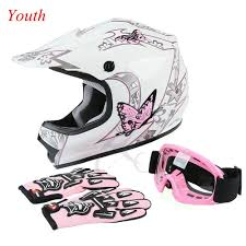 youth motocross goggles youth pink butterfly dirt bike atv mx helmet w motocross goggles