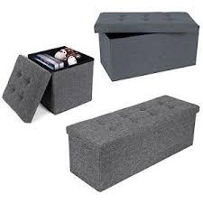 Folding Storage Ottoman Grey Linen Folding Storage Ottoman Padded Seat Stool Chest Box