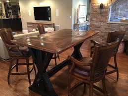 copper top trestle base bar height table farmhouse table