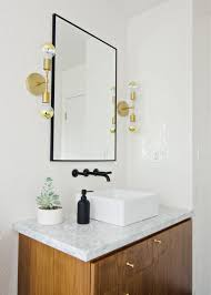 White Bathroom Lights Black White Walnut Bathroom With Black Faucet Brass Sconces