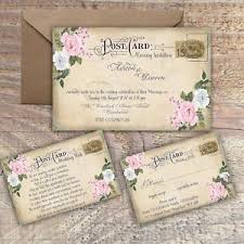 cheap wedding invitations packs personalised vintage postcard pink grey floral wedding