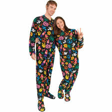 peace sign fleece footed pajamas with drop seat limited