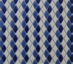 Blue Ceramic Floor Tile New Design Pure White Marble Chips With Blue Ceramic Mixed Floor