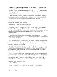 free actor employment agreement u2013 non union u2013 low budget