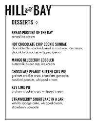 dessert dine in menu hill and bay