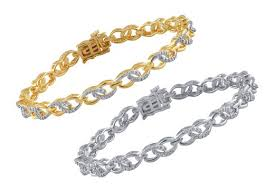 ladies bracelet with images White yellow gold plated brass infinity link bracelet with jpg
