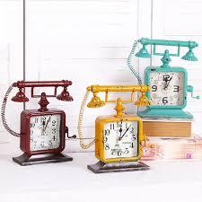 metal ornaments home decor fashion household decor vintage telephone alarm clock metal