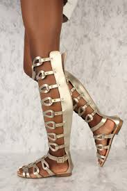 gold strappy studded gladiator sandals faux leather