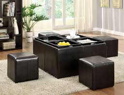 square storage ottoman with tray black leather storage ottoman tray super masculine home improvement