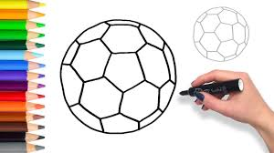 learn to draw a soccer ball teach drawing for kids coloring page