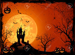 halloween night background halloween night black castle on the moon background illustration