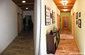 narrow hallways distract attention by adding a dramatic color or