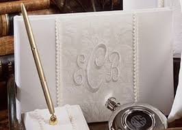 wedding guest book and pen set classic ivory monogrammed brocade guest book and pen set