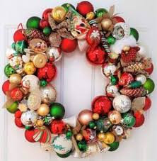 24 vintage glass ornament wreath traditional gold