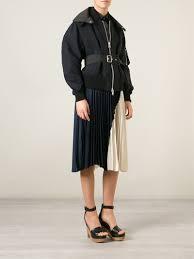 sacai luck lyst sacai luck detachable collar bomber jacket in black