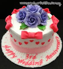 3rd wedding anniversary sweet perfection cakes gallery code ann01 happy 3rd wedding