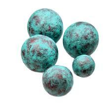 light blue decorative balls copper and turquoise blue handmade papier mache accent balls set of