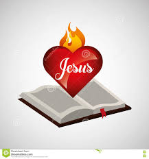 sacred heart jesus on bible design stock illustration image
