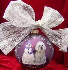 ornaments to remember bichon frise white hand blown glass