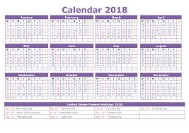 2018 calendar with holidays us uk canada australia