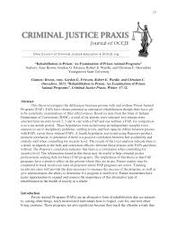 praxis 543 study guide rehabilitation in prison an examination of prison animal programs