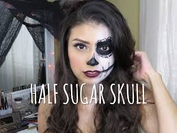 easy half sugar skull halloween makeup tutorial beauty