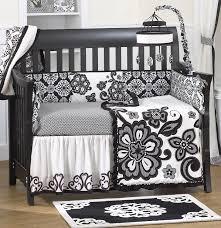 Black And White Crib Bedding Set Cocalo Elsa All Around Bumper Black White