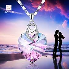 crystal heart pendant necklace images Change color necklace heart shape necklace woman gifts necklace jpg