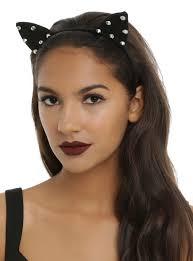spiked headband blackheart silver spiked black cat ear headband hot topic