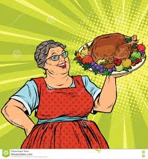 thanksgiving dinner pictures clip art grandma with a christmas or thanksgiving roast turkey stock vector