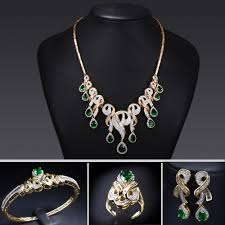 necklace bracelet earring ring images Bridal jewelry sets 18k gold plated emerald cubic zircon 4pcs jpg
