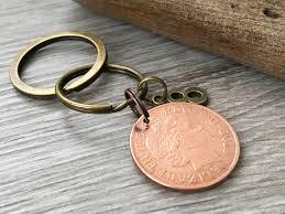 eighth anniversary gift 8th anniversary gift 2010 coin keyring keychain wedding bronze