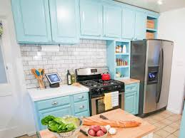 design sky blue stained wooden country kitchen cabinet with sky blue stained wooden country kitchen cabinet with marble subway tile backsplash and countertop electric stove butcher block large refrigerator