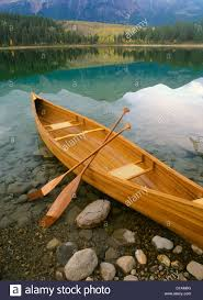 canoe on patricia lake jasper national park alberta canada