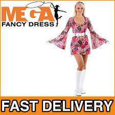 retro flower go go dress hippie fancy dress 1960s 60s 70s