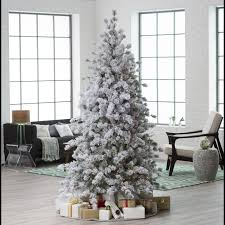 tremendous pre lit flocked tree photo ideas