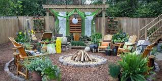 Backyard Pavers Diy Diy Backyard Patio With Fire Pit And Wood Chair And Flowers